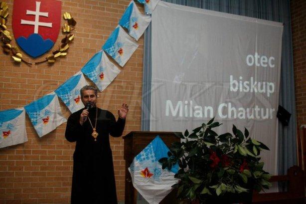 Vladyka Chautur počas katechéz pre Slovenských pútnikov, ktorí sa zúčastnili Svetových dní mládeže v Sydney.
